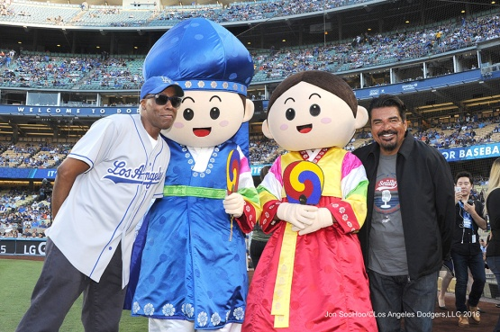 Arensio Hall and George Lopez plus friends--Los Angeles Dodgers during game against the Baltimore Orioles Tuesday, July 5, 2016 at Dodger Stadium in Los Angeles, California. Photo by Jon SooHoo/©Los Angeles Dodgers,LLC 2016