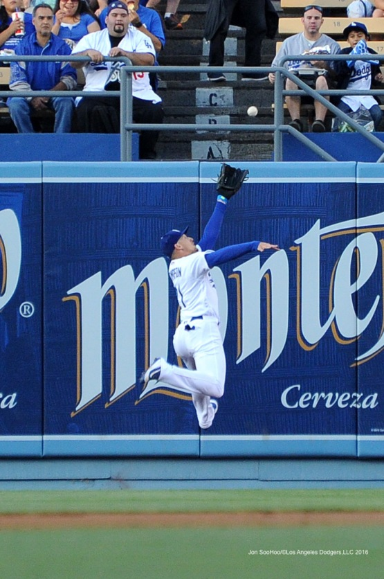 Trayce Thompson makes catch--Los Angeles Dodgers during game against the Baltimore Orioles Tuesday, July 5, 2016 at Dodger Stadium in Los Angeles, California. Photo by Jon SooHoo/©Los Angeles Dodgers,LLC 2016