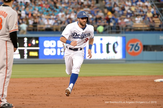 Chris Taylor--Los Angeles Dodgers during game against the Baltimore Orioles Tuesday, July 5, 2016 at Dodger Stadium in Los Angeles, California. Photo by Jon SooHoo/©Los Angeles Dodgers,LLC 2016