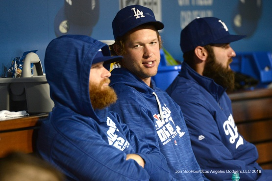 Brett Anderson, Clayton Kershaw and Scott Van Slyke--Los Angeles Dodgers during game against the Baltimore Orioles Tuesday, July 5, 2016 at Dodger Stadium in Los Angeles, California. Photo by Jon SooHoo/©Los Angeles Dodgers,LLC 2016