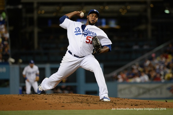 Pedro Baez--Los Angeles Dodgers during game against the Baltimore Orioles Tuesday, July 5, 2016 at Dodger Stadium in Los Angeles, California. Photo by Jon SooHoo/©Los Angeles Dodgers,LLC 2016