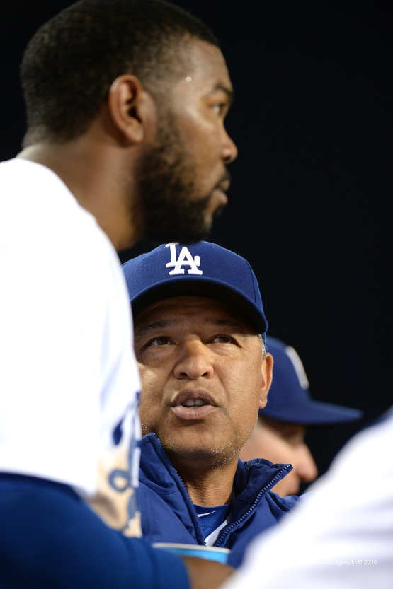 Dave Roberts and Howie Kendrick--Los Angeles Dodgers during game against the Baltimore Orioles Tuesday, July 5, 2016 at Dodger Stadium in Los Angeles, California. Photo by Jon SooHoo/©Los Angeles Dodgers,LLC 2016