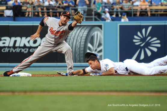 Corey Seager is safe at second--Los Angeles Dodgers during game against the Baltimore Orioles Tuesday, July 5, 2016 at Dodger Stadium in Los Angeles, California. Photo by Jon SooHoo/©Los Angeles Dodgers,LLC 2016