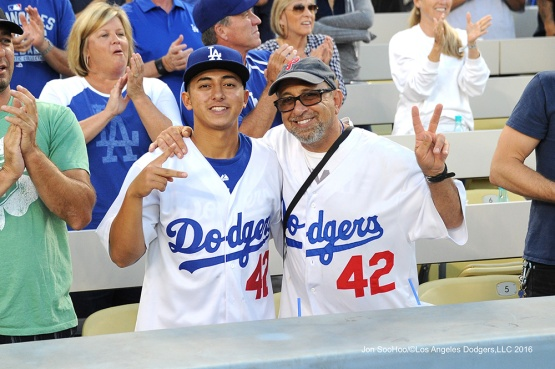 Great Los Angeles Dodger fans pose prior to game against the Baltimore Orioles Tuesday, July 5, 2016 at Dodger Stadium in Los Angeles, California. Photo by Jon SooHoo/©Los Angeles Dodgers,LLC 2016