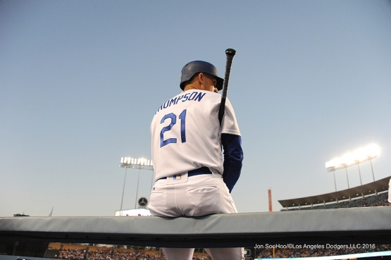 Trayce Thompson--Los Angeles Dodgers during game against the Baltimore Orioles Tuesday, July 5, 2016 at Dodger Stadium in Los Angeles, California. Photo by Jon SooHoo/©Los Angeles Dodgers,LLC 2016