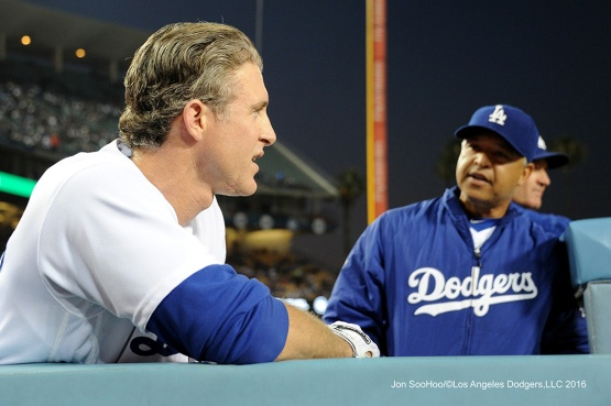 Chase Utley and Dave Roberts--Los Angeles Dodgers during game against the Baltimore Orioles Tuesday, July 5, 2016 at Dodger Stadium in Los Angeles, California. Photo by Jon SooHoo/©Los Angeles Dodgers,LLC 2016