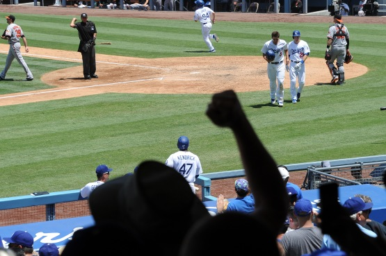 Los Angeles Dodgers during game against the Baltimore Orioles Wednsday, July 6, 2016 at Dodger Stadium in Los Angeles, California. Photo by Jon SooHoo/©Los Angeles Dodgers,LLC 2016