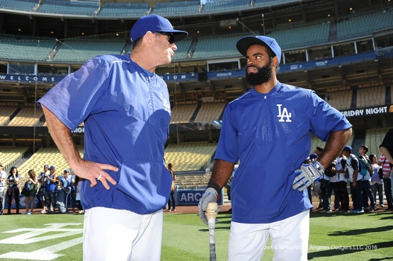 Los Angeles Dodgers Andrew Toles with Turner Ward prior to game against the San Diego Thursday, July 8, 2016 at Dodger Stadium in Los Angeles, California. Photo by Jon SooHoo/©Los Angeles Dodgers,LLC 2016