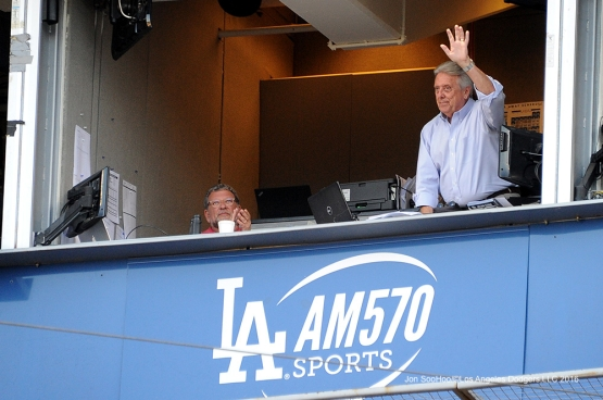 Rick Monday waves to the crowd prior to game against the San Diego Friday, July 8, 2016 at Dodger Stadium in Los Angeles, California. Photo by Jon SooHoo/©Los Angeles Dodgers,LLC 2016