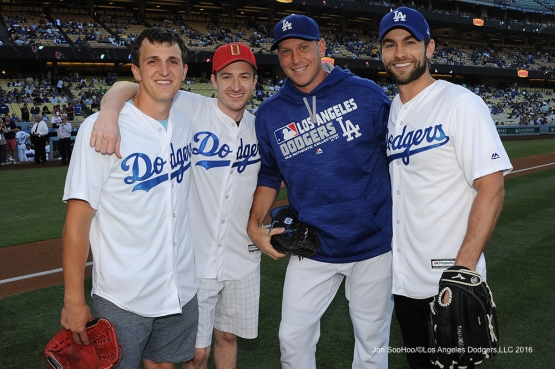 Great Los Angeles Dodger fans pose with A.J.Ellis prior to game against the San Diego Friday, July 8, 2016 at Dodger Stadium in Los Angeles, California. Photo by Jon SooHoo/©Los Angeles Dodgers,LLC 2016