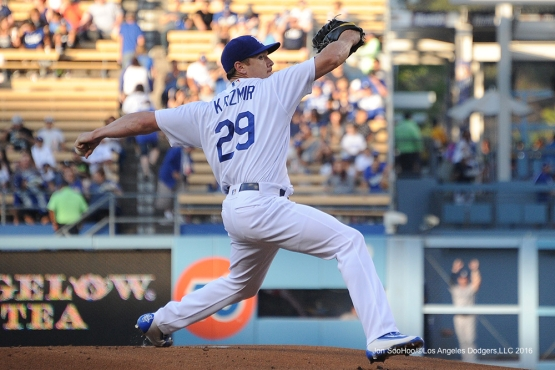 Los Angeles Dodgers  Scott Kazmir pitches during game against the San Diego Friday, July 8, 2016 at Dodger Stadium in Los Angeles, California. Photo by Jon SooHoo/©Los Angeles Dodgers,LLC 2016