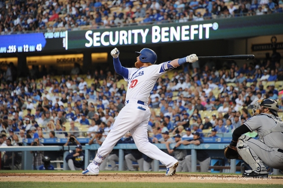 Los Angeles Dodgers Justin Turner homers during game against the San Diego Friday, July 8, 2016 at Dodger Stadium in Los Angeles, California. Photo by Jon SooHoo/©Los Angeles Dodgers,LLC 2016