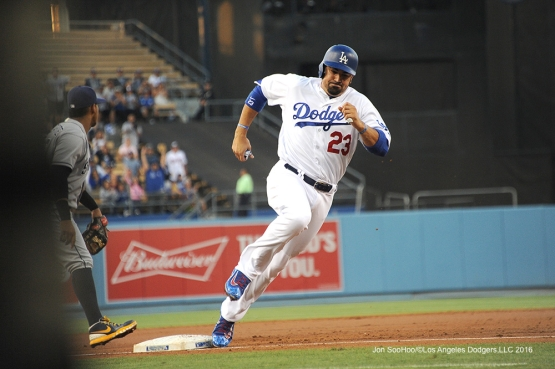 Los Angeles Dodgers Adrian Gonzalez rounds third during game against the San Diego Friday, July 8, 2016 at Dodger Stadium in Los Angeles, California. Photo by Jon SooHoo/©Los Angeles Dodgers,LLC 2016