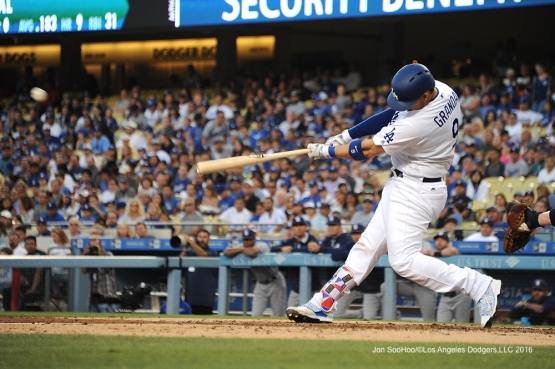Los Angeles Dodgers Yasmani Grandal hits his first home run during game against the San Diego Friday, July 8, 2016 at Dodger Stadium in Los Angeles, California. Photo by Jon SooHoo/©Los Angeles Dodgers,LLC 2016
