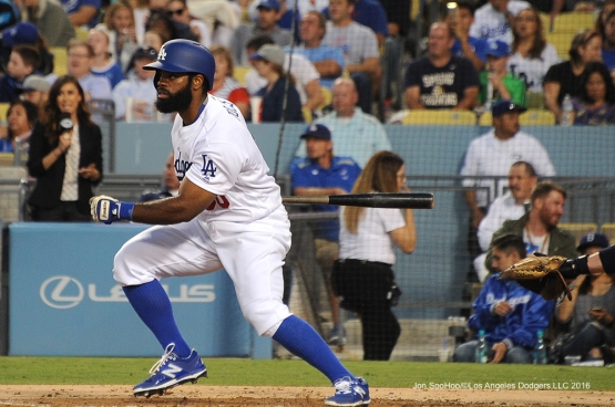 Los Angeles Dodgers Andrew Toles doubles during game against the San Diego Friday, July 8, 2016 at Dodger Stadium in Los Angeles, California. Photo by Jon SooHoo/©Los Angeles Dodgers,LLC 2016