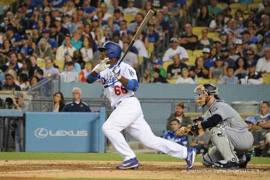 Los Angeles Dodgers Yasiel Puig singles during game against the San Diego Friday, July 8, 2016 at Dodger Stadium in Los Angeles, California. Photo by Jon SooHoo/©Los Angeles Dodgers,LLC 2016