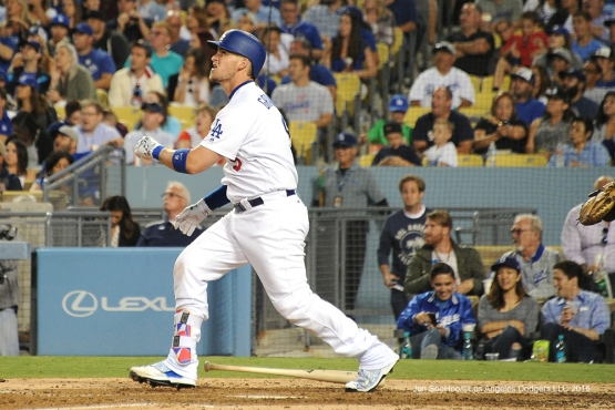 Los Angeles Dodgers Yasmani Grandal hits his second home run during game against the San Diego Friday, July 8, 2016 at Dodger Stadium in Los Angeles, California. Photo by Jon SooHoo/©Los Angeles Dodgers,LLC 2016