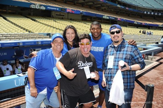 Great Los Angeles Dodger fans pose prior to game against the San Diego Padres Saturday, July 9, 2016 at Dodger Stadium in Los Angeles, California. Photo by Jon SooHoo/©Los Angeles Dodgers,LLC 2016