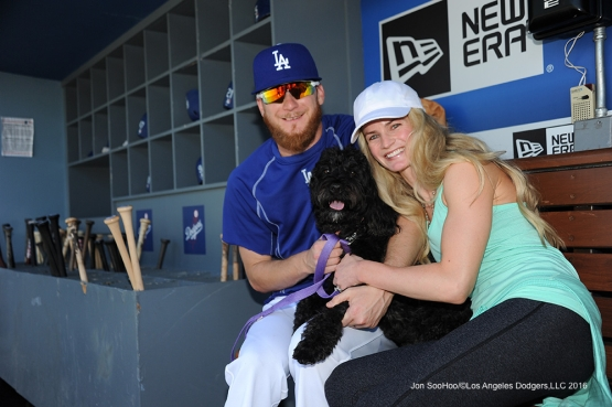 Los Angeles Dodgers J.P Howell, Rose and Heather Howell pose before game against the San Diego Padres  Saturday, July 9, 2016 at Dodger Stadium in Los Angeles, California. Photo by Jon SooHoo/©Los Angeles Dodgers,LLC 2016