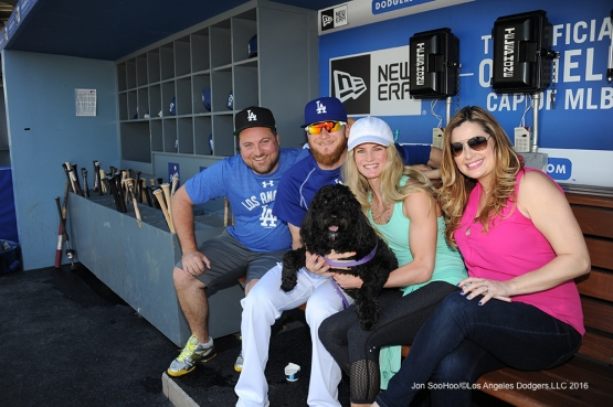 Los Angeles Dodgers J.P Howell, Rose and Heather Howell and guests pose before game against the San Diego Padres  Saturday, July 9, 2016 at Dodger Stadium in Los Angeles, California. Photo by Jon SooHoo/©Los Angeles Dodgers,LLC 2016