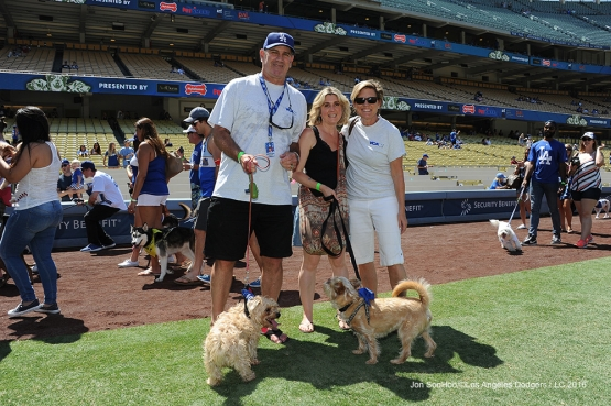 Former Dodger Tim Leary participates at Pups at the Park before game against the San Diego Padres  Saturday, July 9, 2016 at Dodger Stadium in Los Angeles, California. Photo by Jon SooHoo/©Los Angeles Dodgers,LLC 2016