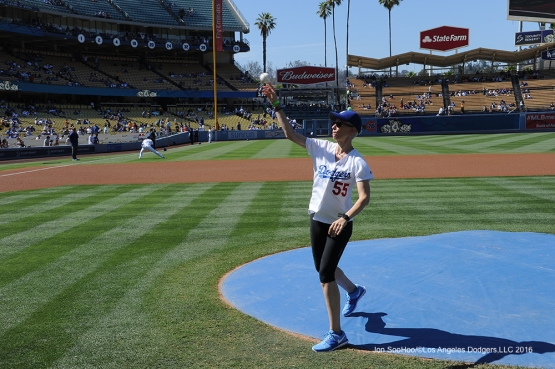 Great Los Angeles Dodger fan throws out the first pitch prior to game against the San Diego Padres Saturday, July 9, 2016 at Dodger Stadium in Los Angeles, California. Photo by Jon SooHoo/©Los Angeles Dodgers,LLC 2016