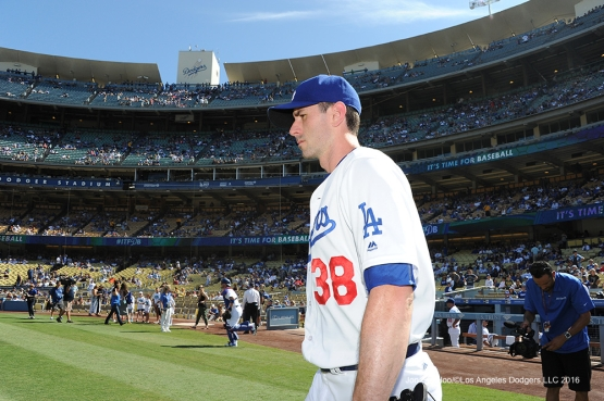 Los Angeles Dodgers Brandon McCarthy during game against the San Diego Saturday, July 9, 2016 at Dodger Stadium in Los Angeles, California. Photo by Jon SooHoo/©Los Angeles Dodgers,LLC 2016