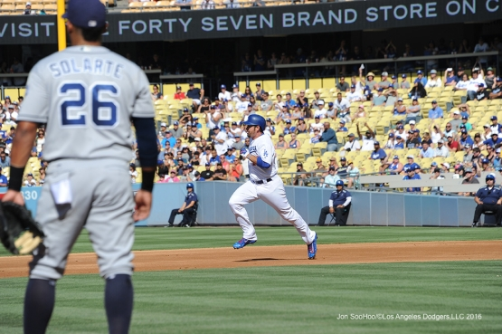 Los Angeles Dodgers during game against the San Diego Saturday, July 9, 2016 at Dodger Stadium in Los Angeles, California. Photo by Jon SooHoo/©Los Angeles Dodgers,LLC 2016