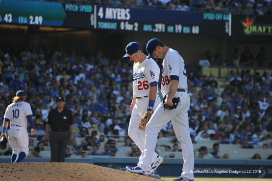 Los Angeles Dodgers Chase Utley and Brandon McCarthy during game against the San Diego Padres Saturday, July 9, 2016 at Dodger Stadium in Los Angeles, California. Photo by Jon SooHoo/©Los Angeles Dodgers,LLC 2016