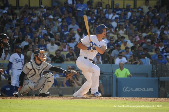 Los Angeles Dodgers Corey Seager singles during game against the San Diego Padres Saturday, July 9, 2016 at Dodger Stadium in Los Angeles, California. Photo by Jon SooHoo/©Los Angeles Dodgers,LLC 2016