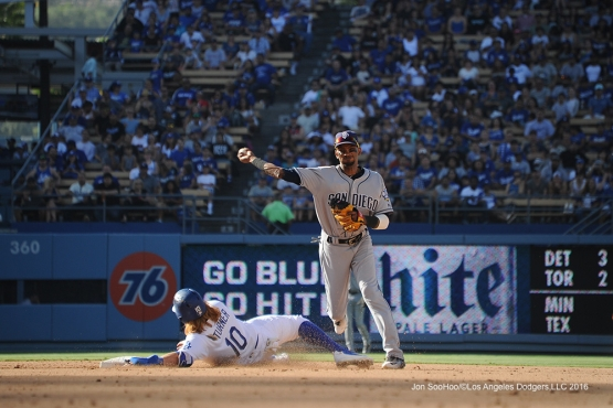 Los Angeles Dodgers Justin Turner slides into second during game against the San Diego Padres Saturday, July 9, 2016 at Dodger Stadium in Los Angeles, California. Photo by Jon SooHoo/©Los Angeles Dodgers,LLC 2016