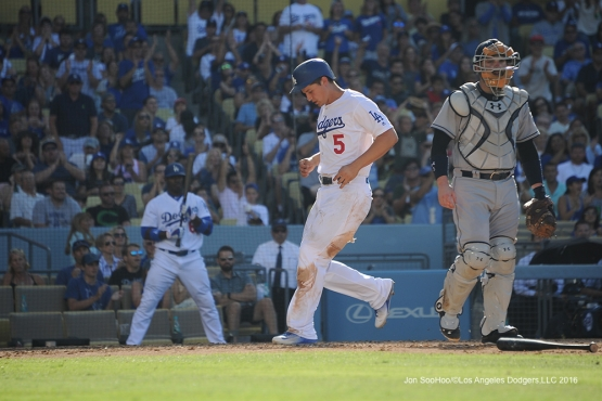Los Angeles Dodgers Corey Seager scores during game against the San Diego Padres Saturday, July 9, 2016 at Dodger Stadium in Los Angeles, California. Photo by Jon SooHoo/©Los Angeles Dodgers,LLC 2016