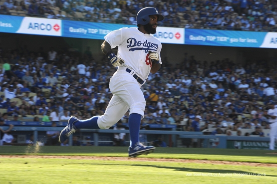 Los Angeles Dodgers Andrew Toles singles during game against the San Diego Padres Saturday, July 9, 2016 at Dodger Stadium in Los Angeles, California. Photo by Jon SooHoo/©Los Angeles Dodgers,LLC 2016