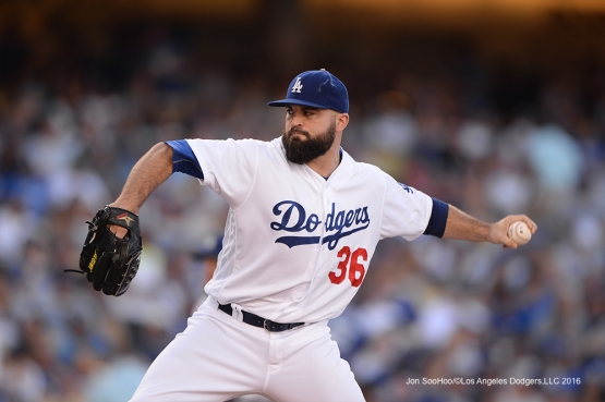 Los Angeles Dodgers Adam Liberatore sets record during game against the San Diego Padres Saturday, July 9, 2016 at Dodger Stadium in Los Angeles, California. Photo by Jon SooHoo/©Los Angeles Dodgers,LLC 2016