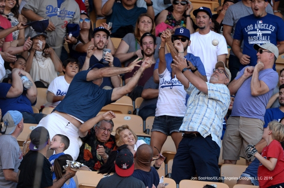 Foul Ball Follies--Los Angeles Dodgers during game against the San Diego Padres Saturday, July 9, 2016 at Dodger Stadium in Los Angeles, California. Photo by Jon SooHoo/©Los Angeles Dodgers,LLC 2016