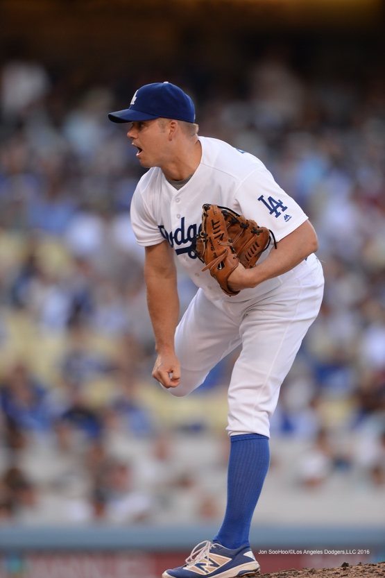Los Angeles Dodgers Joe Blanton pitches during game against the San Diego Padres Saturday, July 9, 2016 at Dodger Stadium in Los Angeles, California. Photo by Jon SooHoo/©Los Angeles Dodgers,LLC 2016