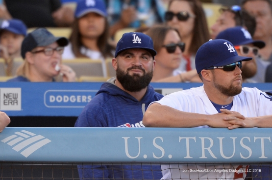 Los Angeles Dodgers Adam Liberatore smiles during game against the San Diego Padres Saturday, July 9, 2016 at Dodger Stadium in Los Angeles, California. Photo by Jon SooHoo/©Los Angeles Dodgers,LLC 2016