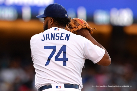 Los Angeles Dodgers Kenley Jansen closes out the ninth against the San Diego Padres Saturday, July 9, 2016 at Dodger Stadium in Los Angeles, California. Photo by Jon SooHoo/©Los Angeles Dodgers,LLC 2016