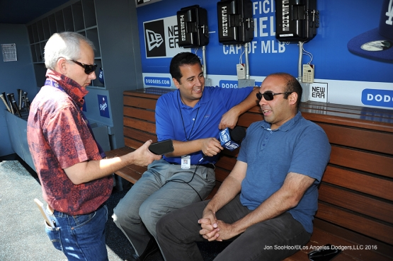Los Angeles Dodgers Farhan Zaidi speaks to the media prior to game against the San Diego Padres Sunday, July 10 2016 at Dodger Stadium in Los Angeles, California. Photo by Jon SooHoo/©Los Angeles Dodgers,LLC 2016