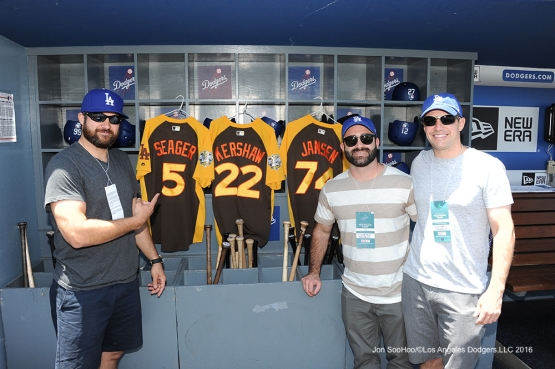 Great Los Angeles Dodger fans pose prior to game against the San Diego Padres Sunday, July 10 2016 at Dodger Stadium in Los Angeles, California. Photo by Jon SooHoo/©Los Angeles Dodgers,LLC 2016