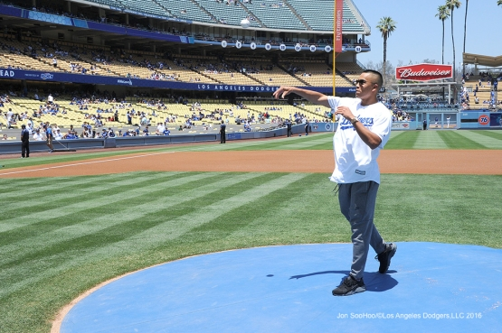 Soccer star Bobby Wood throws out the first pitch before Los Angeles Dodgers game against the San Diego Padres Sunday, July 10 2016 at Dodger Stadium in Los Angeles, California. Photo by Jon SooHoo/©Los Angeles Dodgers,LLC 2016