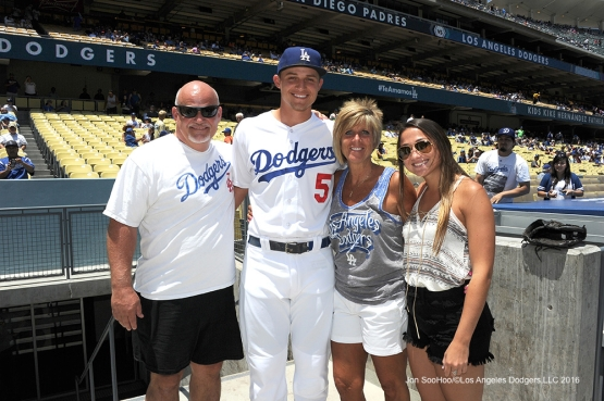 The Seagers prior to Los Angeles Dodgers game against the San Diego Padres Sunday, July 10 2016 at Dodger Stadium in Los Angeles, California. Photo by Jon SooHoo/©Los Angeles Dodgers,LLC 2016