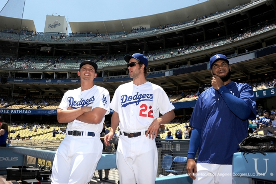 All Stars Corey Seager, Clayton Kershaw and Kenley Jansen prior to game against the San Diego Padres Sunday, July 10 2016 at Dodger Stadium in Los Angeles, California. Photo by Jon SooHoo/©Los Angeles Dodgers,LLC 2016