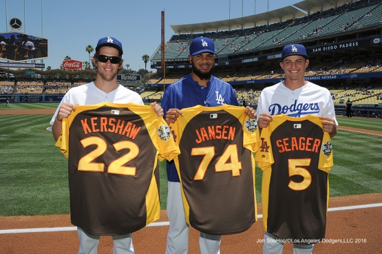 All Stars  Clayton Kershaw and Kenley Jansen, Corey Seager prior to game against the San Diego Padres Sunday, July 10 2016 at Dodger Stadium in Los Angeles, California. Photo by Jon SooHoo/©Los Angeles Dodgers,LLC 2016