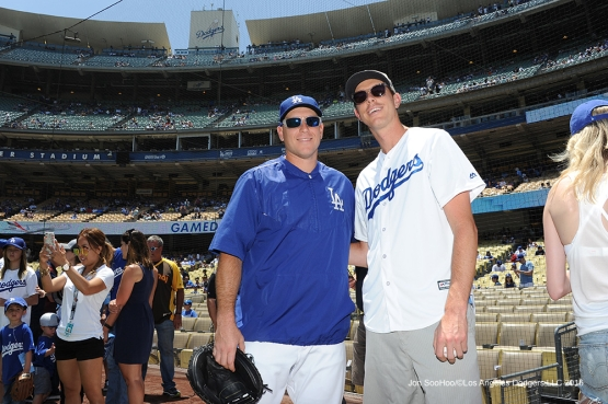 Tennis star Sam Query and Los Angeles Dodgers A.J.Ellis during game against the San Diego Padres Sunday, July 10 2016 at Dodger Stadium in Los Angeles, California. Photo by Jon SooHoo/©Los Angeles Dodgers,LLC 2016