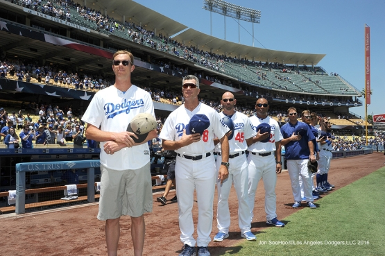 Sam Querrey on the line for the anthem with the Los Angeles Dodgers  against the San Diego Padres Sunday, July 10 2016 at Dodger Stadium in Los Angeles, California. Photo by Jon SooHoo/©Los Angeles Dodgers,LLC 2016