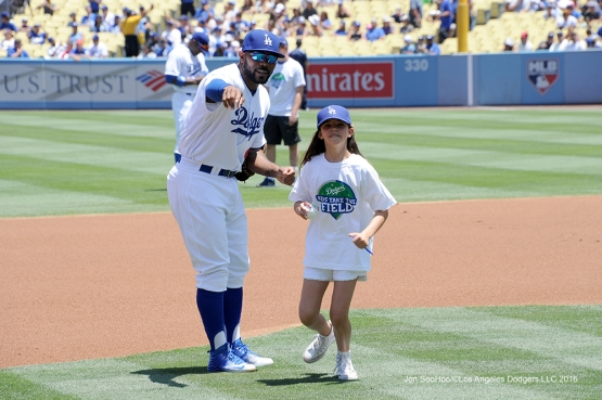 Los Angeles Dodgers Howie Kendrick during game against the San Diego Padres Sunday, July 10 2016 at Dodger Stadium in Los Angeles, California. Photo by Jon SooHoo/©Los Angeles Dodgers,LLC 2016
