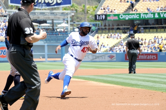 Los Angeles Dodgers Howie Kendrick scores during game against the San Diego Padres Sunday, July 10 2016 at Dodger Stadium in Los Angeles, California. Photo by Jon SooHoo/©Los Angeles Dodgers,LLC 2016