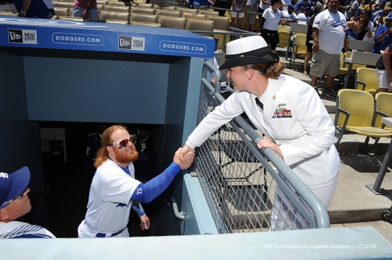 Military Hero of the Game--US Navy Senior Chief Petty Officer, Elissa Cook prior to Los Angeles Dodgers game against the San Diego Padres Sunday, July 10 2016 at Dodger Stadium in Los Angeles, California. Photo by Jon SooHoo/©Los Angeles Dodgers,LLC 2016