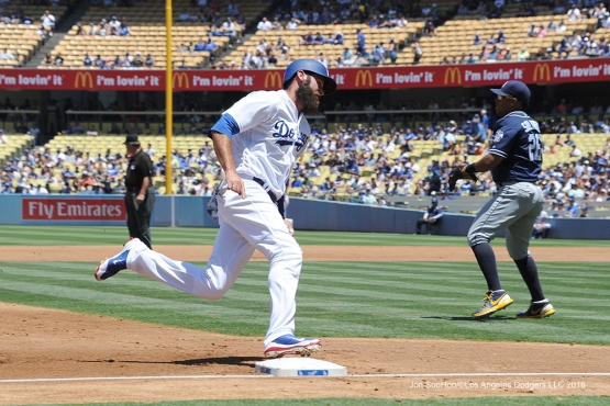 Los Angeles Dodgers  Scott Van Slyke scores during game against the San Diego Padres Sunday, July 10 2016 at Dodger Stadium in Los Angeles, California. Photo by Jon SooHoo/©Los Angeles Dodgers,LLC 2016
